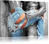 Frau in aufgerissener Jeans schwarz/weiß Format: 120x80 auf Leinwand, XXL riesige Bilder fertig gerahmt mit Keilrahmen, Kunstdruck auf Wandbild mit Rahmen, günstiger als Gemälde oder Ölbild, kein Poster oder Plakat