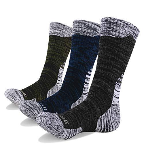 518PIu0MHJL. SS500  - YUEDGE Men's 3 Pairs Wicking Breathable Cushion Anti Blister Casual Crew Socks Outdoor Multi Performance Hiking Trekking Walking Athletic Socks