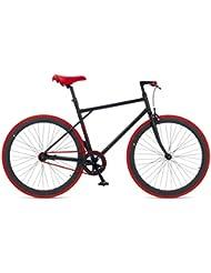 """MBM  Unit - Bicicleta fixie, cuadro de acero talla 53, frenos V-Brake, horquilla acero y ruedas de 28"""", color negro y rojo"""