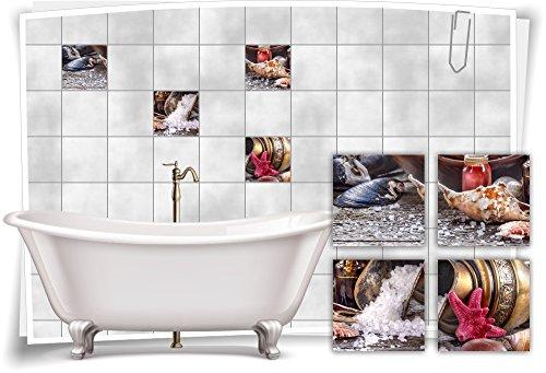 Muschel-salz (Medianlux Fliesenaufkleber Fliesenbild Muscheln Krug Salz Wellness SPA Aufkleber Sticker Fliesen Bad WC, 10x10cm)