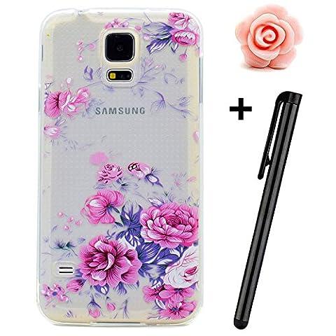 Samsung Galaxy S5 Mini Hülle,TOYYM Transparent Kristall Ultra Dünn [Perfect fit] Soft Bumper Handyhülle Case TPU Silikon Backcover,Durchsichtige Schutzhülle Anti-scratch mit Retro Muster Design hinten Tasche Etui für Samsung Galaxy S5 Mini-Pinke