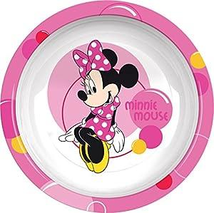 Ciao 33915-Plato hondo Minnie Bubbles, Rosa/Blanco