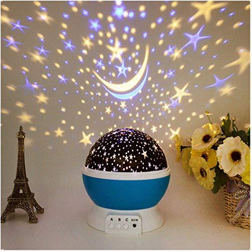 Vivila 360 ° drehbare romantische Mondstern-Projektor-Nachtlicht-Projektionslampe mit 4 LEDs zum Aufladen über USB oder Batteriebetrieb