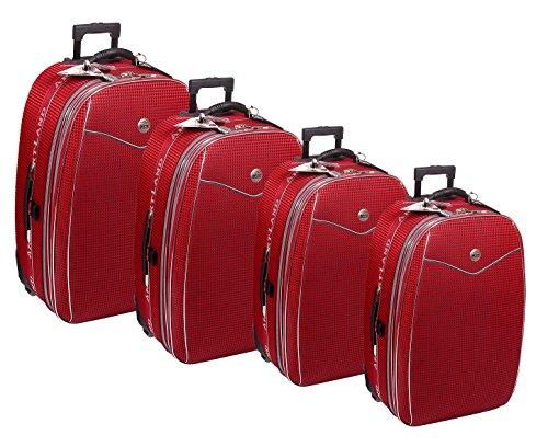Reisekoffer, Koffer, Kofferset, Trolley, mit Dehnfalte, 4 tlg., rot
