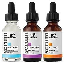 ArtNaturals Antienvejecimiento de Vitamina-C Retinol y Ácido-Hialurónico - (3 x 30ml) - Cada Uno. - Sérum De Vitamina C, Sérum De Retinol, Sérum De Ácido Hialurónico