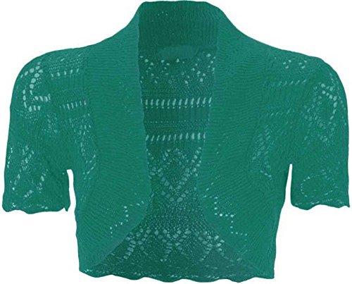 Cardigan ouvert à l'avant à manches courtes en tricot, crochet, boléro court pour femme bleu sarcelle