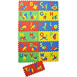 """NHR Colorful Kids Play Puzzle Style Mat With Pop Out English Alphabets And Animal Pictures. 26 Pcs (interlocking)12"""" X12"""". Each"""