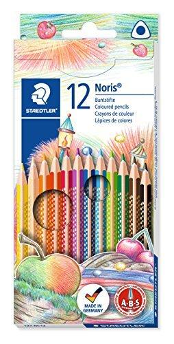 Staedtler 127 NC12 Buntstifte Noris Club (erhöhte Bruchfestigkeit, dreikant, Set mit 12 brillanten Farben, ABS-System, kindgerecht nach DIN EN71, umweltfreundliches PEFC-Holz)