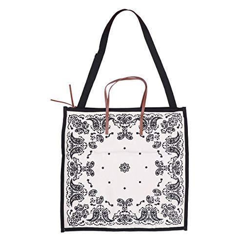 TENDYCOCO Canvas Bag Vintage Print Large Capacity Simple Handbag Casual Shopping Bag for Women (Black) -