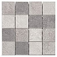 Prosperveil 10PCS Frosted Grey Mosaic Wall Tile Transfers Stickers Self Adhesive Waterproof Kitchen Bathroom Tile Wall Sticker Vinyl Art Decals Home Decoration 10 x 10 cm