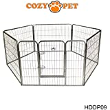 Cozy Pet Heavy Duty Play Pen for Dogs Puppies Rabbits Guinea Pigs, Puppy Playpen Whelping Pen Dog Cage Puppy Crate Run 9 Sizes Available - HDDP09. (We