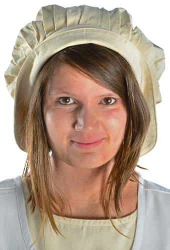 Hemad bonnet medievale delle donne - con piastra - puro cotone – beige