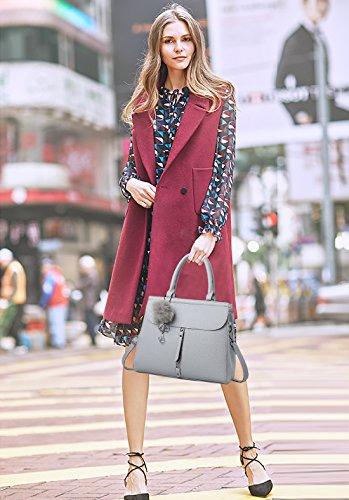 NICOLE&DORIS Moda Elegante Donna Borse a Mano Borse a Spalla Borse a Tracolla Borse Commuter Tote Impermeabile Durevole Morbido PU Bianca Grigio Chiaro