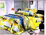 #8: Super India 3D Printed 180 TC Polycotton Double Bedsheet with 2 Pillow Covers - Green