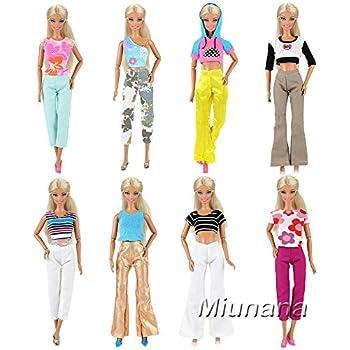 25faf6e7988d9 Miunana 5 Vetements Costumes Aléatoires (5 Tops + 5 Pantalons ) Colorés Pour  Poupée Barbie