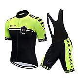 Erstbrand Radtrikot Set Atmungsaktiv Fahrradbekleidung Kurzarm (Radjacke und Rahose mit 3D Sitzpolster) (M, Grün-Schwarz)