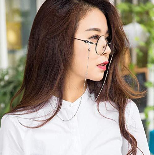 Brillen Halskette Kette,Tukistore Edelstahl Perlen Brillen Sonnenbrillen Halter Cord Strap Brillen Lanyard Retainer Strap (Halskette Brillen-halter)