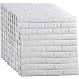 LEISIME 20 PCS - 116 Sq Ft 3D Wall Sticker Self-Adhesive Wall Panels Waterproof PE Foam White Wallpaper for Living Room TV Wa
