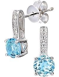 Naava 9ct White Gold Diamond and Gemstone Round Cut Drop Earrings