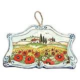 CERAMICHE D'ARTE PARRINI- Ceramica italiana artistica , portachiavi o appendi asciughino, decorazione paesaggio papaveri , dipinto a mano , made in ITALY Toscana