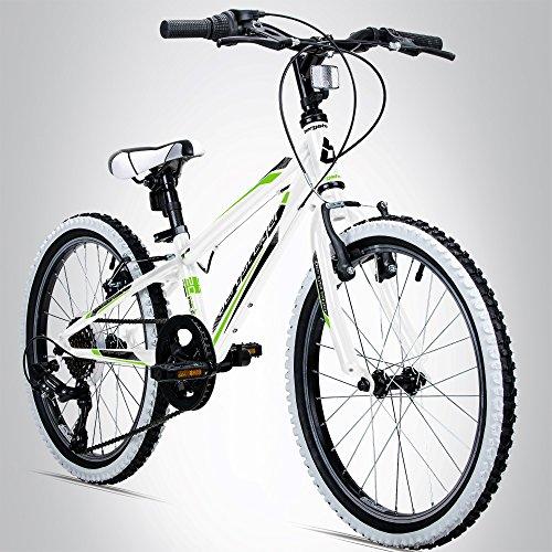 Bergsteiger Kansas 20 Zoll Kinderfahrrad, geeignet für 6, 7, 8, 9 Jahre, Shimano 6 Gang-Schaltung, Mountainbike mit Weißwandbereifung, Jungen-Fahrrad, Mädchen-Fahrrad - Ständer Kinder Fahrrad 20 Zoll