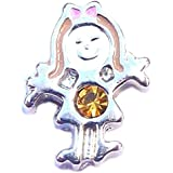 November birthstone GIRL - 8mm floating charm fits Living memory and Origami Owl style lockets