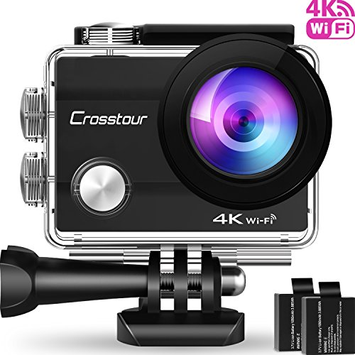 Galleria fotografica Action Cam 4K, Crosstour WIFI Sport Action Camera 170° Grandangolare 2.0 Pollici con Due Batterie 1050mAh e Kit di Accessori di Montaggio