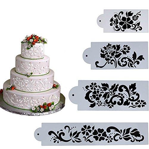 Everpert 4 stücke Kuchen Schablone Blume & Blatt Kuchen Dekorieren Tools Fondant Formen (Silikon Cookie Blatt)