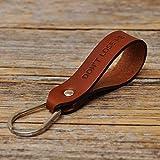 Braunes Leder Schlüsselanhänger mit Wunschtext Monogramm personifizierter Ringhalter Klammer Schlüssel graviertes Geschenk