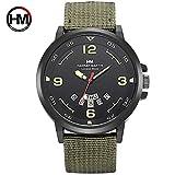 HM-1602 Hannah Martin Mode Mann Uhr mit Kalender Funktion Casual Sport Quarzuhr Armbanduhr Weihnachtsgeschenk - Army Green Nylon Strap gelb