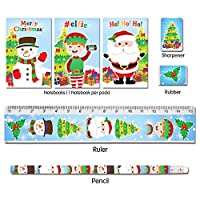 Oxford Novelties 1/6/12/24/36 Kids Christmas Xmas Stationery Set With 3D STICKERS (24)