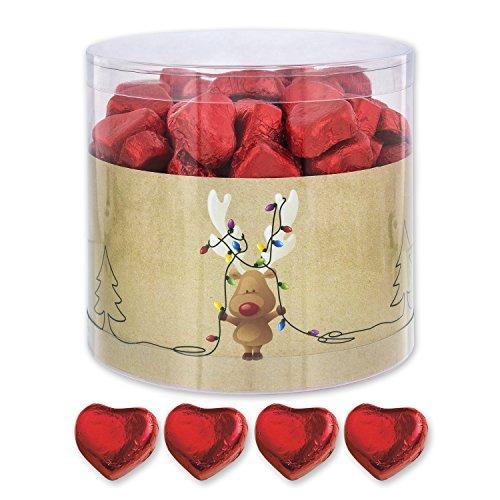 Preisvergleich Produktbild Günthart 150 Stück rote Schokoladen Herzen mit Nougatfüllung / Nougatcreme Rudolf mit Lichterkette / Schokoladenherzen rot / Give away / rote Herzen aus Schokolade / Weihnachten (1, 1 kg)