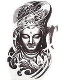 ღ Hb071-Flash Tattoo noir et blanc Image Bouddha corps temporaire Stickers Autocollants Gotik orientale exotique tatouage gothique autocollant feuille est pour hommes femmes
