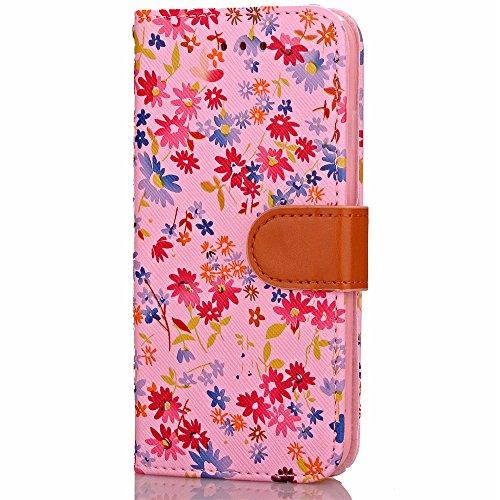 iPhone Case Cover Mischfarben-PU-Leder-Kasten-Mappen-Kasten mit Karten-Bargeld-Slot kleine Blumen-Muster-Fall-Standplatz-Abdeckungs-Fall-weicher TPU-Abdeckung für Apple IPhone 7 plus ( Color : Brown , Red