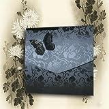 Cruz con diseño de negro fenilcetonuria grabado de flor Vintage boda tarjetas de invitación para el polvo de mariposa cuadrado Wedding Wonders fundas Papel lleva inserciones de diseño de Inc x 5