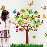Le style d'arbre avec des papillons et des oiseaux Autocollant mural de PVC à la maison papier peint en vinyle pour la décoration papier peint au salon, à la chambre et à la cuisine les photos d'art DIY à la salle de jeux pour des enfants