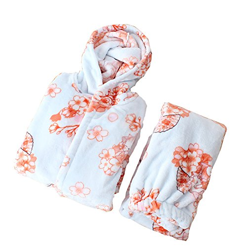 Flanell Damen Kimono Pyjama Anzug japanische Art Robes-Blue (Flanell Damen-robe)