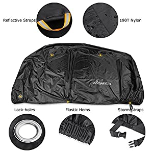 BEEWAY Bike Cover for 2 Bikes/Motorbike Cover - 190T Nylon, Waterproof, Anti Dust Rain UV Protection with Lock-holes Storage Bag