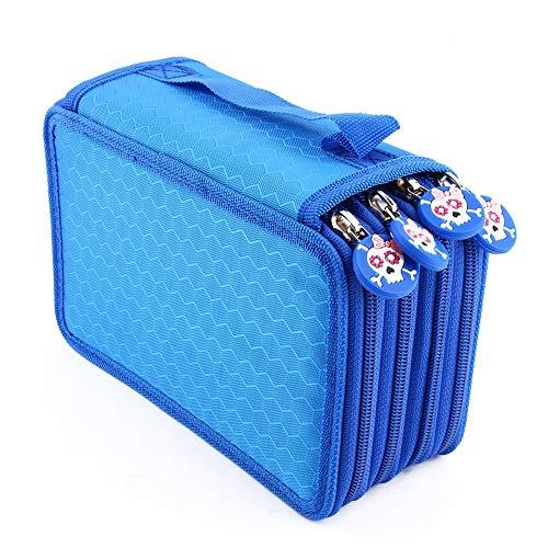 Oxford Mehrschicht Stiftemappe für 72 Buntstifte make-up Pinsel Tasche Pencil Organizer Pen Tasche stationäre Stiftetasche mit großer Kapazität (Blau)