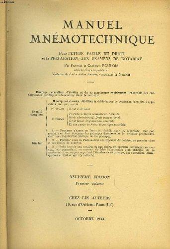 Manuel mnmotechnique. en 2 tomes