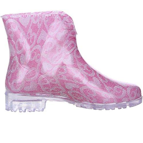 G&G Damen Stiefeletten Gummistiefeletten Regenschuhe pink/grau/silber Pink