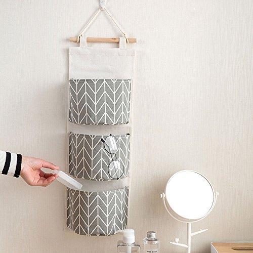 Hängeorganizer Wand Hängenden COLORFUL 3 Grids Wandbehang Aufbewahrungstasche Organizer Spielzeug Container Dekor Tasche (Grau) -