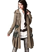 Artka Women's F/W Ethnic Patched Hoodie Long Cotton Linen Trench Coat