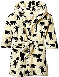 Hatley Jungen Kleid Kids Fleece Robe-Black Bears On Natural