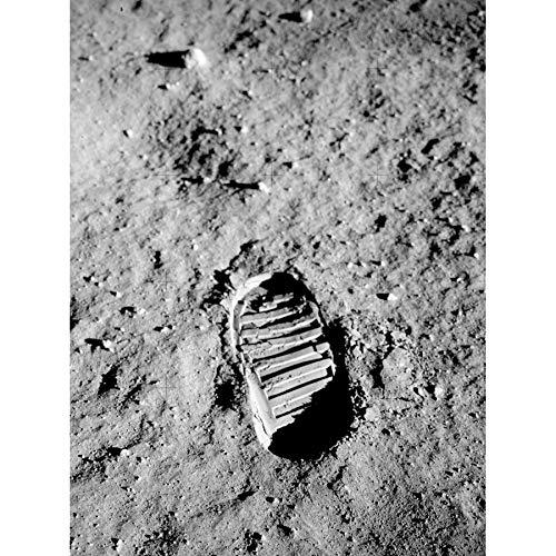 Apollo 11 Bootprint Astronaut Aldrin Armstrong 50th Anniversary Moon Landing Art Print Canvas Premium Wall Decor Poster Mural Mond Wand Deko - Art Print Canvas