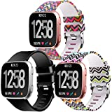 Moretek Zubehör Armband für Fitbit Versa, Silikon Sport Schlaufe Handgelenk Uhrband Ersatz Uhrenarmband für Fitbit Versa Health & Fitness Smartwatch 3Pack (Black/2Waves 3pcs, Large)