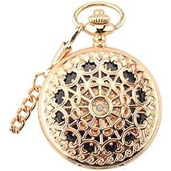 ANNA&JOE Mesh vintage rose gold mechanical Pocket Watch flip cut necklace men ladies watch