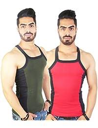 Zimfit Men's Gym Vest 112(Green_Red)