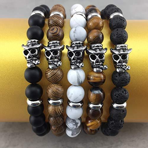 Brava Elastische (cooles Armband Perlenarmband echte Perlen (8 mm) Auswahl Stretch Gummiband für Damen Frauen Herren Männer Schmuck toller Totenkopf Unisex Bikerschmuck A_43)