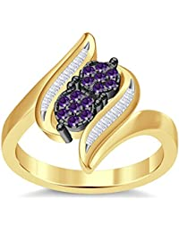 Silvernshine 3.5Ct Round Cut Sim Amethyst Diamonds 14K Yellow Gold PL Engagement & Wedding Ring